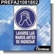 Rotulo Prefabricado - LAVARSE LAS MANOS ANTES DE INGRESAR